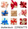 Top view of Gift boxes isolated white - stock photo