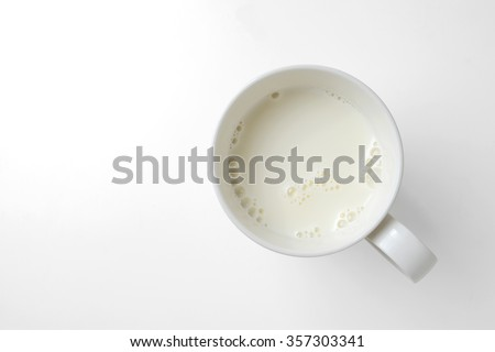 top view of glass milk with clipping path