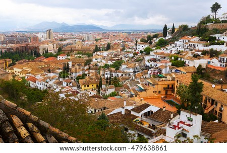 Top view of  Granada in day time. Andalusia,  Spain