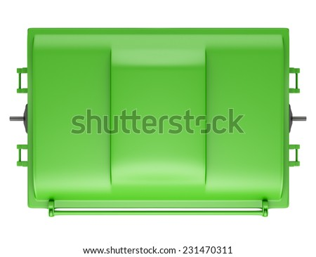 top view of green garbage container isolated on white background - stock photo