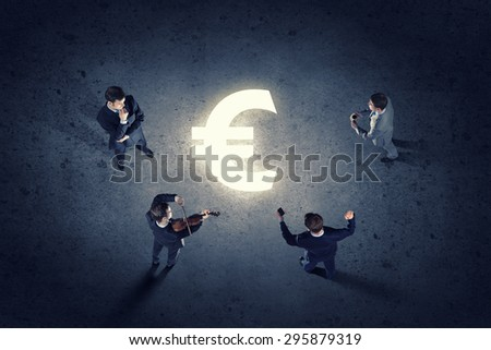 Top view of group of business people standing in circle