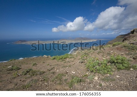 Top view of group of volcanic islands on Atlantic Ocean, Canary Islands, Spain - stock photo