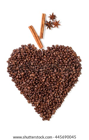 Top view of heart shaped coffee beans with cinnamon sticks and star anise isolated on white background  - stock photo