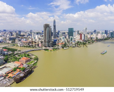 Top view of Ho Chi Minh City,, Vietnam.