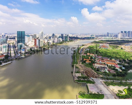 Top view of Ho Chi Minh City, Vietnam.