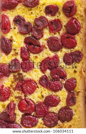 Top view of homemade cherry pie with red berry - stock photo