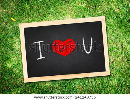 "Top view of  ""I love you "" word on chalkboard lay on green grass,Love concept - stock photo"