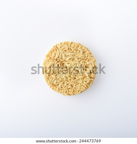 top view of instant noodles on white background - stock photo