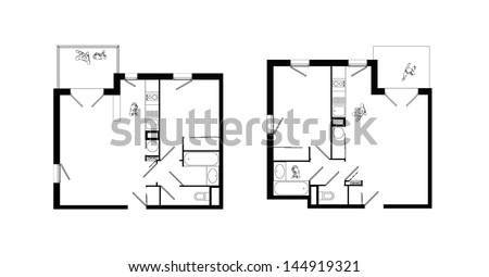 top view of interiors of two small two-rooms apartments with living-room, bed-room, kitchen, bathroom, wc and balcony - stock photo