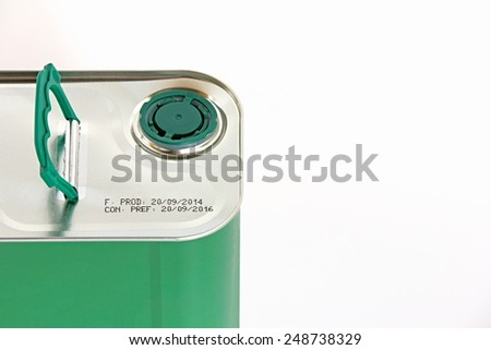 Top view of iron square oil can on white background, - stock photo