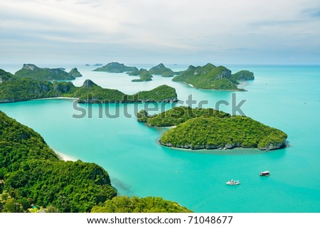 Top view of island group in Thailand - stock photo