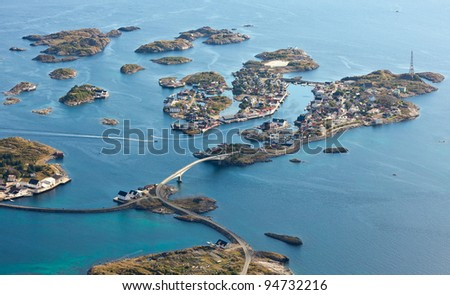 top view of islands in ocean and the city - stock photo
