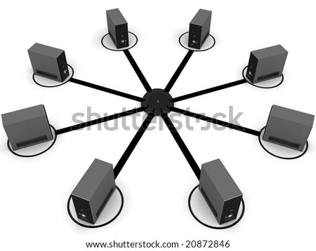 top view of isolated three dimensional connecting cpu - stock photo