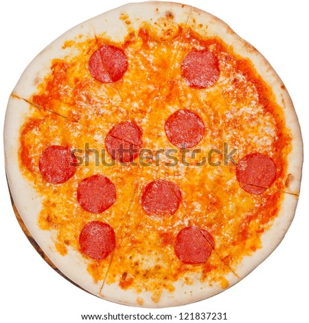 top view of italian pizza with spicy salami isolated on white background