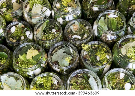 Top view of jars of freshly made pickled cucumbers with spices. - stock photo