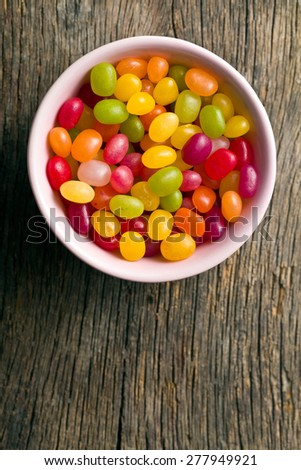 top view of jelly beans in bowl - stock photo