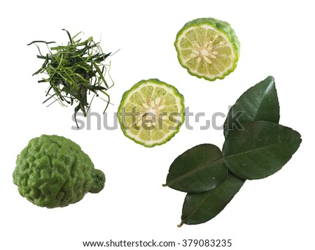 Top view of kaffir lime, kaffir lime leave, kaffir lime leave slice of isolated  white background - stock photo