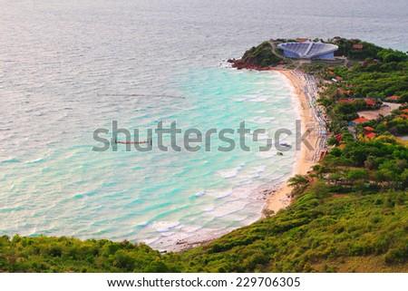 Top view of Koh Larn island samae beach in Pattaya city, Chonburi Thailand. - stock photo