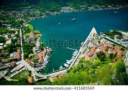 top view of Kotor. Roof tops of the old town Kotor. - stock photo