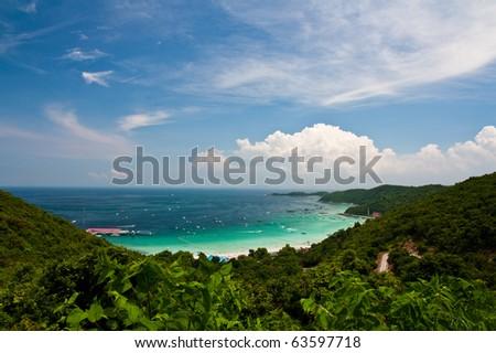 Top view of Lan island,Pattaya city,Thailand - stock photo