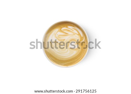 Top view of latte art coffee with heart figure, isolated on white background.