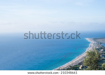 Top view of Lefkada beach and sea in sunny day - stock photo