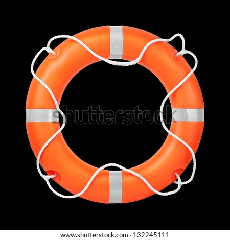 Top view of lifebuoy, isolated on a black background. Clipping path included. - stock photo