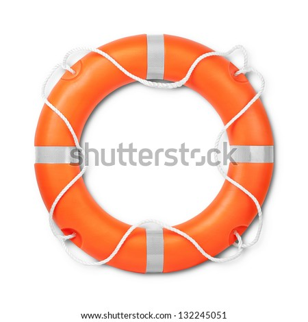 Top view of lifebuoy, isolated on a white background with light shadow. Clipping path included. - stock photo