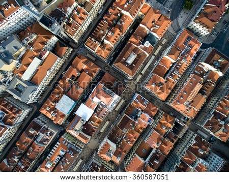 Top View of Lower Town, Lisbon, Portugal - stock photo