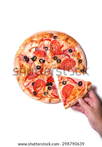 Top view of male hand picking tasty pizza slice, isolated on white background   - stock photo