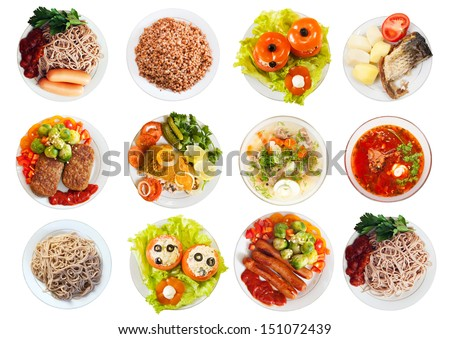 Top view of many plates with food over white background - stock photo