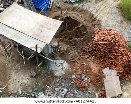 Top view of materials division at construction site