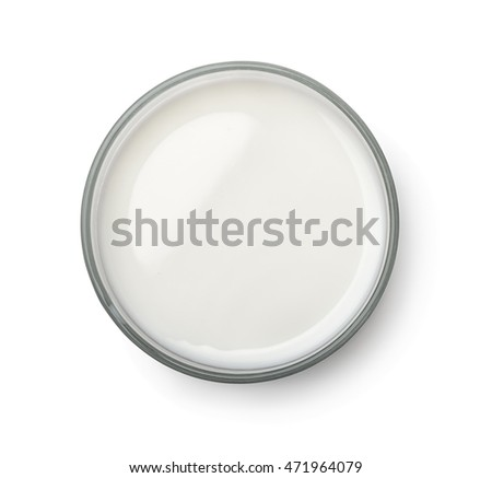 Top view of milk glass isolated on white