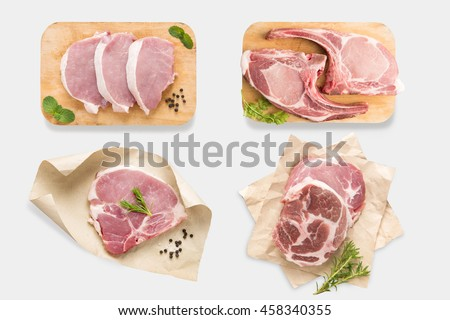 Top view of mockup raw pork chop steak set isolated on white background. Clipping Path included on white background. - stock photo