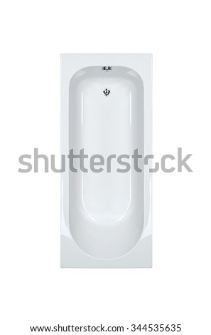 top view of modern bathtub isolated on white background