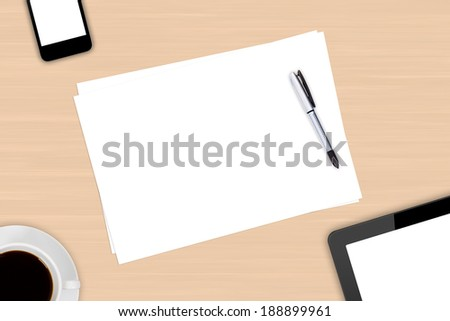 Top view of modern business workplace, digital tablet and smart phone with white blank empty screen, pen, cup of black coffee drink on wooden office table. - stock photo