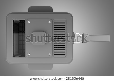 top view of modern deep fryer isolated on gray background - stock photo