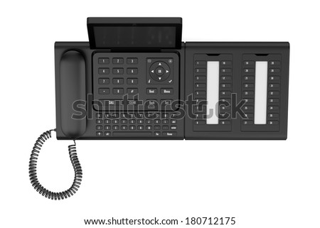 top view of modern office desk phone isolated on white background - stock photo