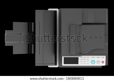top view of modern office multifunction printer isolated on black background - stock photo