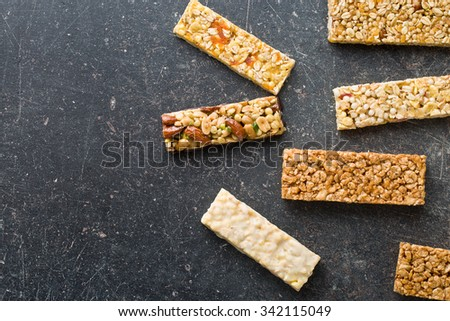top view of muesli bars - stock photo