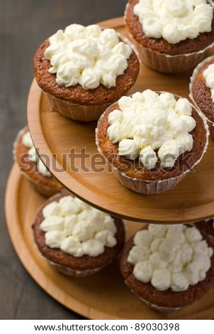 Top view of muffins on a cake stand - stock photo
