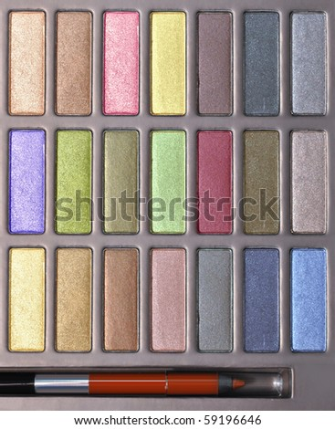top view of multicolored make-up collection for creative visage - stock photo