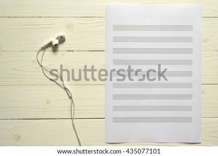 Top View Music Staff Paper Earphone Stock Photo Royalty Free
