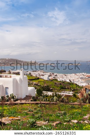 Top view of Mykonos town through the narrow streets. Greece. - stock photo