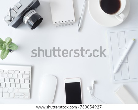 plastic office desk. Top View Of Office Desk Work Space With Coffee Cup, Notebook, Plastic Plant,