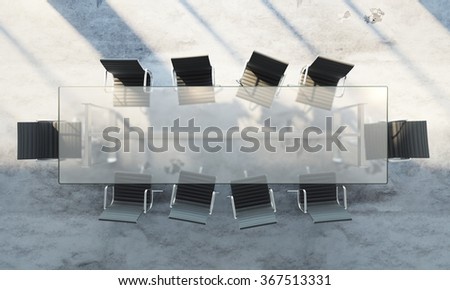 Top view of office table in white modern room, empty space, 3d render - stock photo