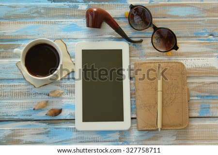 Planning Trip Set Travel Accessory On Stock Photo