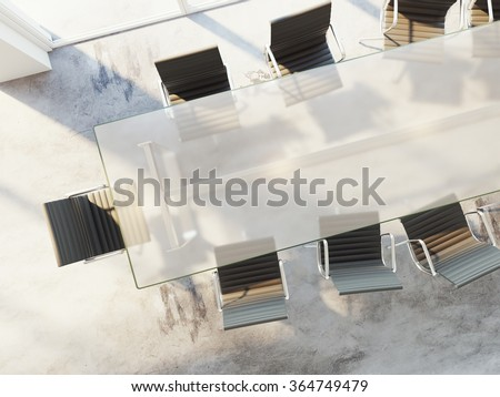 glass table top view. Top View Of Office Table With Chairs, Conference Room, Advertising Agency, White Banner Glass D