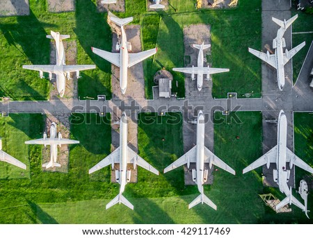 top view of old airplanes exhibition, aerial, photo - stock photo