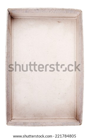 Top view of old carton box isolated on white background  - stock photo